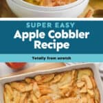 collage of photos of apple cobbler