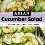 collage of photos of asian cucumber salad