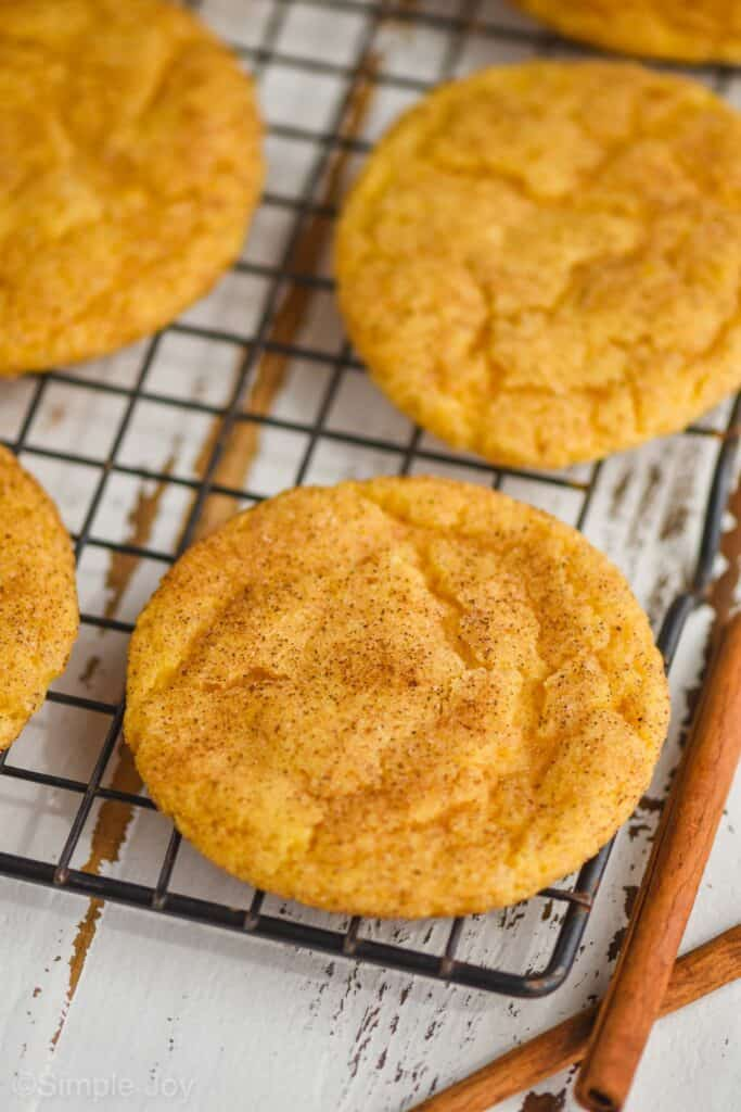 pumpkin snickerdoodle sitting on a cooling rack