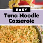 collage of photos of tuna noodle casserole