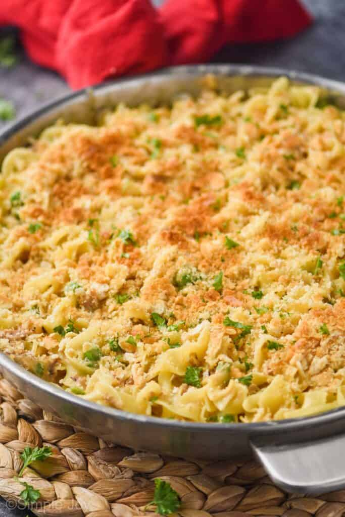 side view of a tuna noodle casserole topped with crackers in a skillet