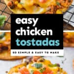 collage of chicken tostada recipe