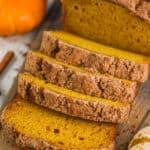 pumpkin bread recipe sliced on a cutting board