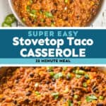 collage of photos of skillet taco casserole
