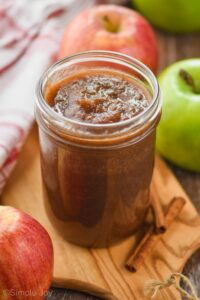 a small mason jar of apple butter
