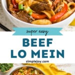 pinterest graphic of beef lo mein
