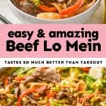 collage of photos of beef lo mein