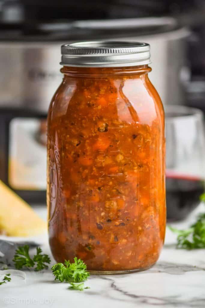 a jar full of bolognese sauce