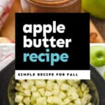 collage of photos of crockpot apple butter