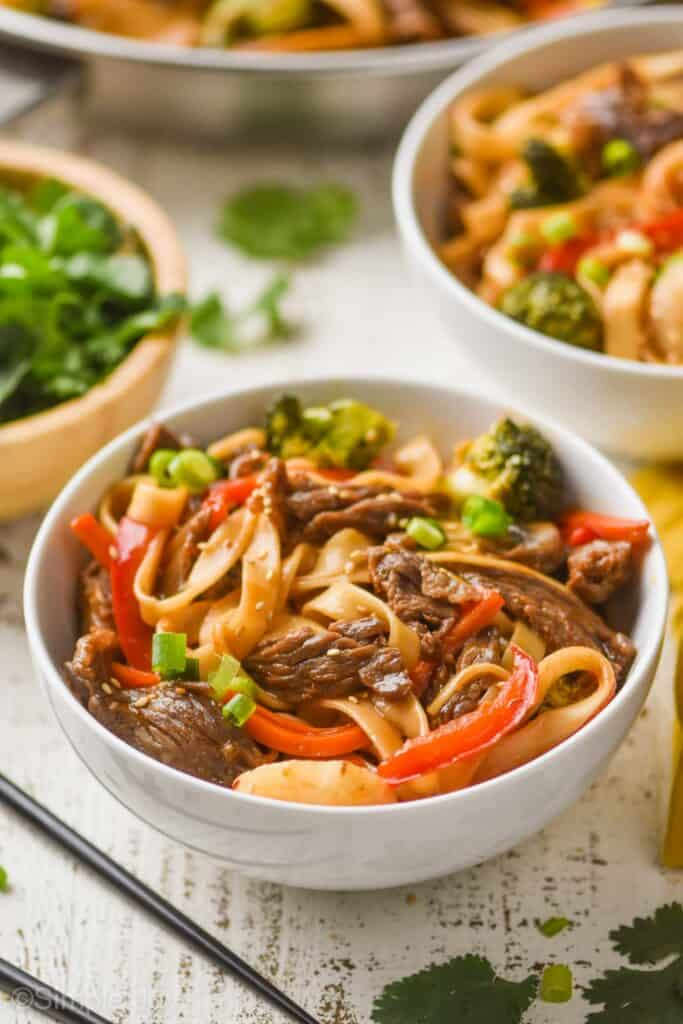 small bowl full of beef lo mein recipe