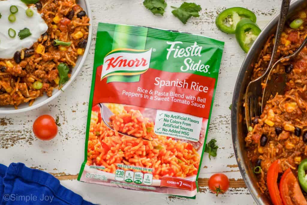 overhead view of a package of Knorr Spanish rice