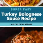 collage of photos of bolognese sauce