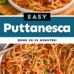 collage of photos of pasta puttanesca