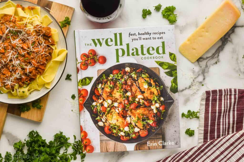 overhead photo of the well plated cookbook