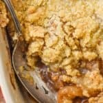 overhead of a baking dish full of easy apple crisp without oats