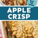 collage of photos of apple crisp