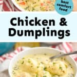 collage of photos of chicken and dumplings