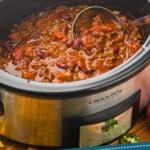 Pinterest graphic of crockpot chili