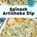collage of photos of spinach artichoke dip