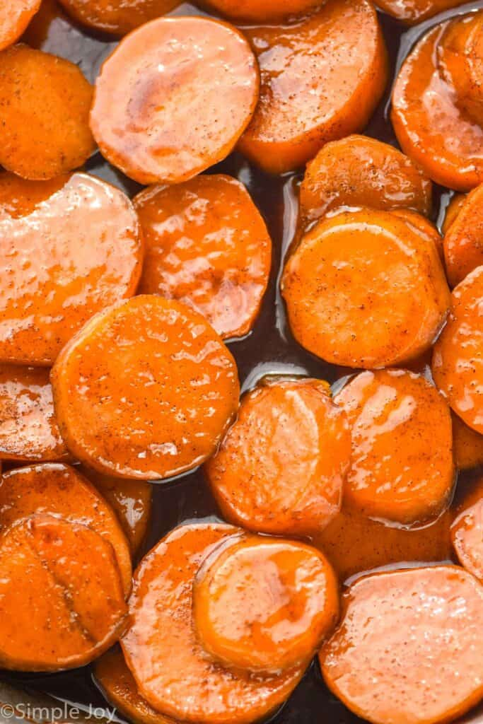close up picture of candied sweet potatoes