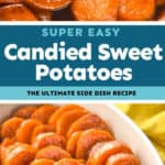 collage of candied sweet potatoes