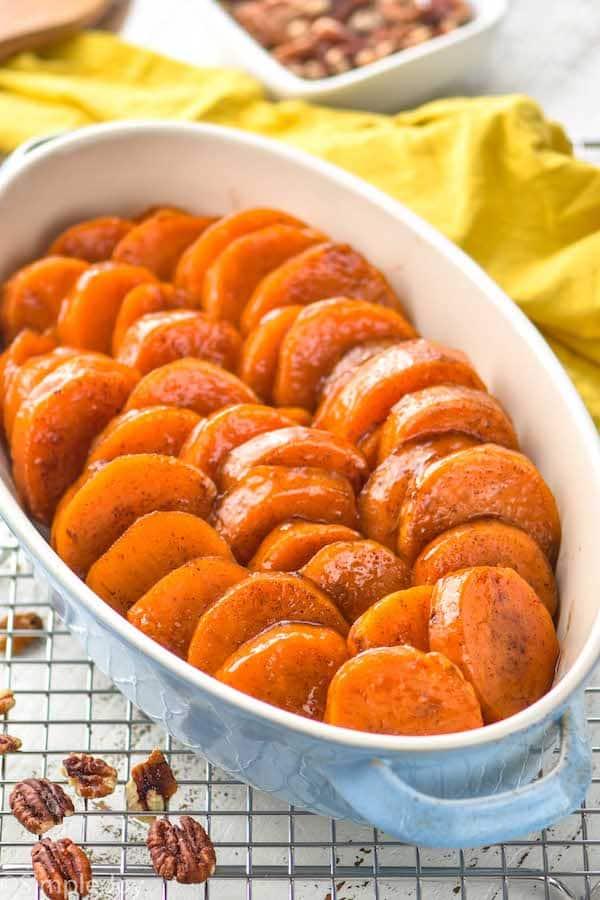 small casserole dish with candied sweet potato recipe