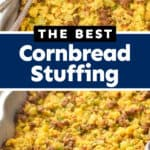collage of photos of cornbread stuffing