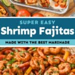 collage of photos of shrimp fajitas