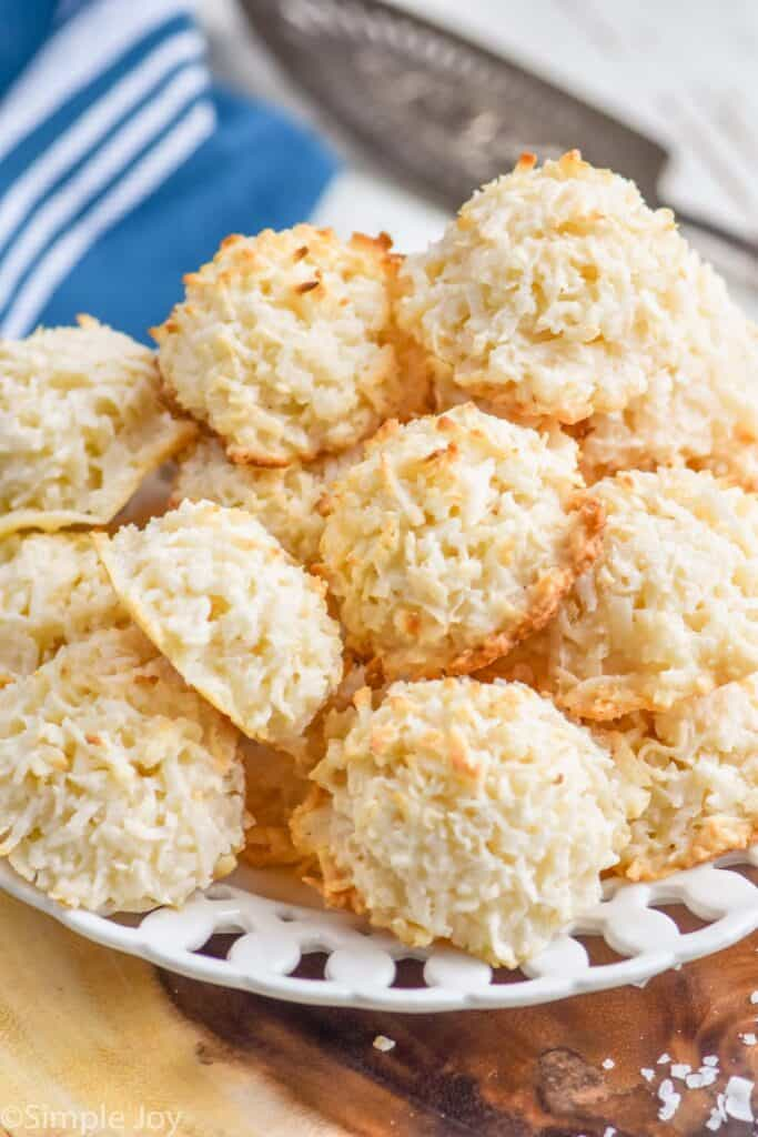 plate full of easy coconut macaroon recipe