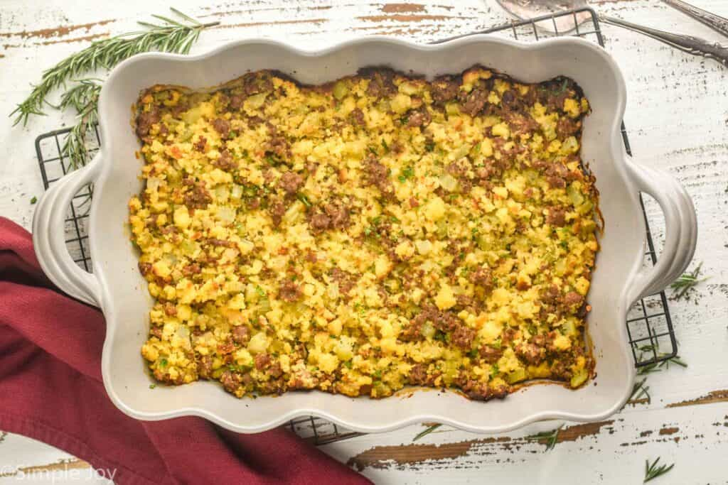 overhead view of a whole pan of cornbread sausage stuffing