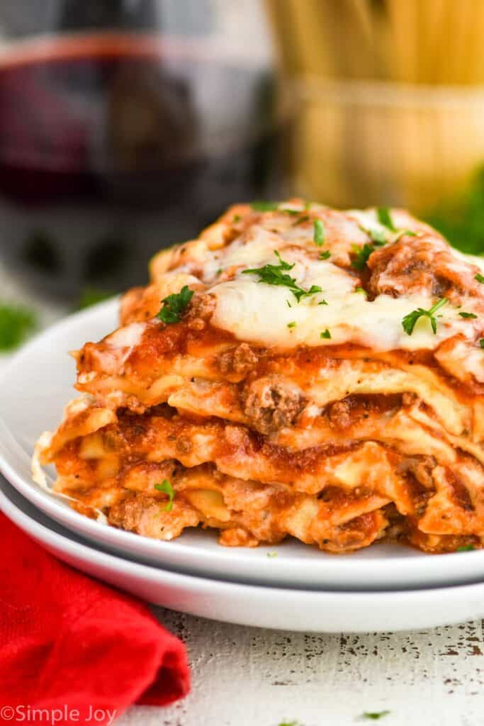 close up side view of a piece of crockpot lasagna recipe