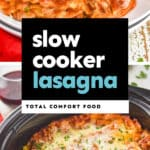collage of photos of crockpot lasagna