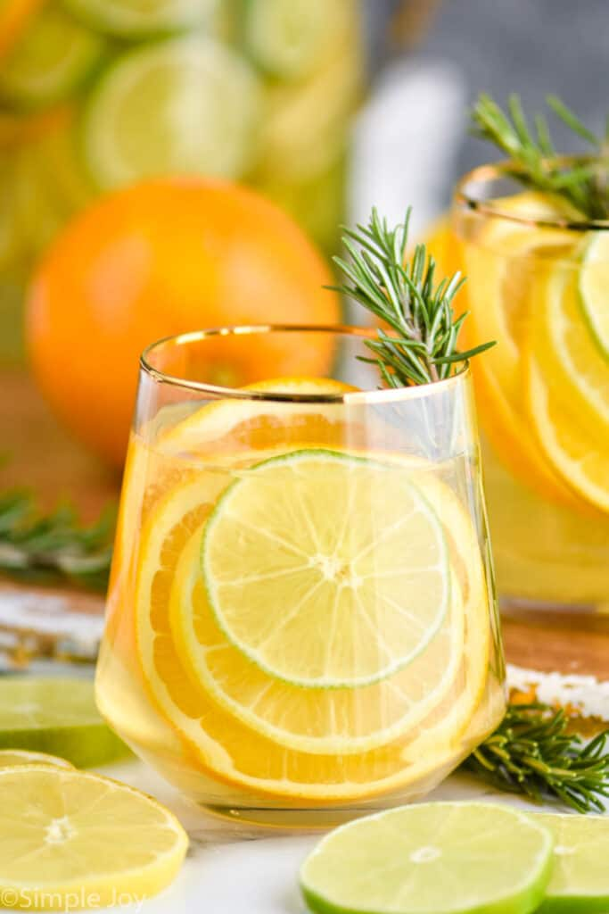 small glass with sangria recipe, slices of citrus fruit and a rosemary sprig in the glass