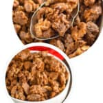 Pinterest graphic for candied walnuts