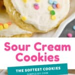 pinterest image for sour cream cookies