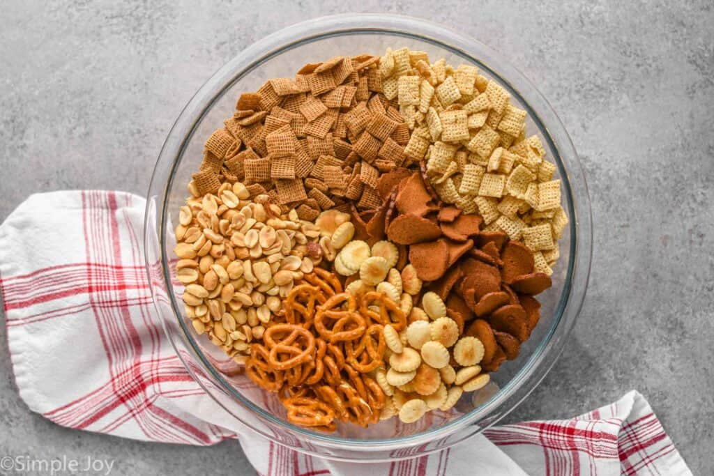 overhead view of bowl of Chex mix ingredients