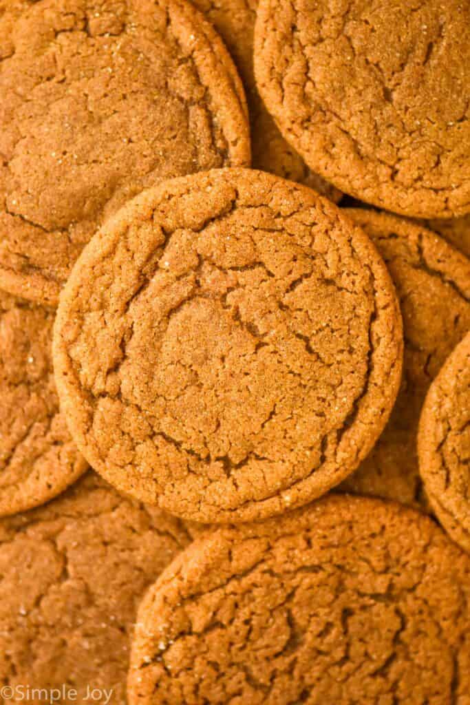 close up overhead photo of ginger molasses cookies