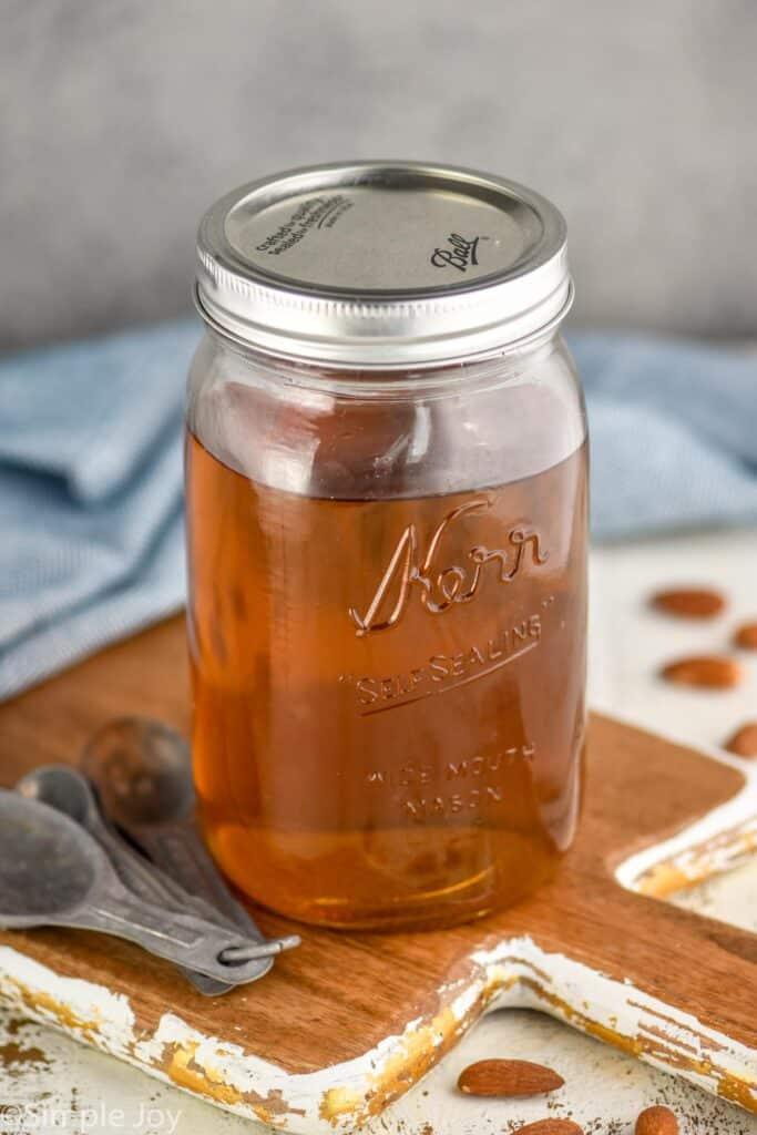 mason jar full of homemade amaretto