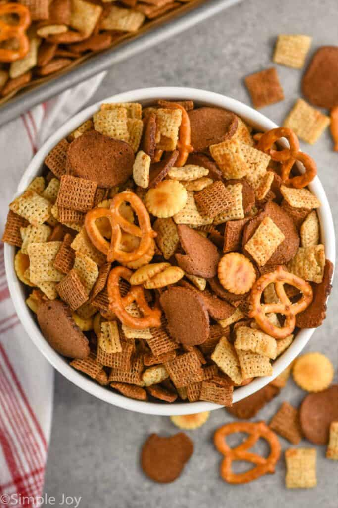 overhead view of bowl of homemade Chex mix