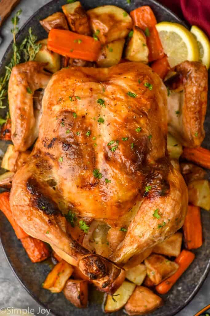 overhead picture of oven roasted chicken