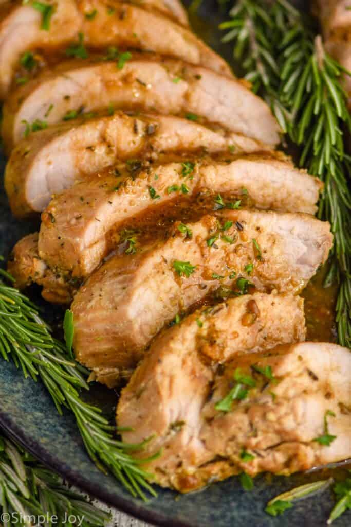 close up of a pork tenderloin that was marinated and roasted