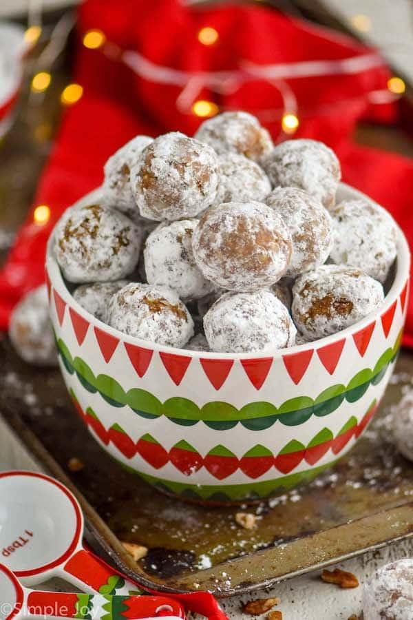 a bowl full of rum balls