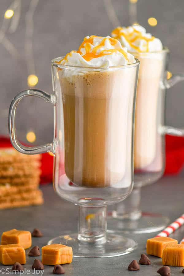 two Irish coffee glasses filled with salted caramel mocha drinks