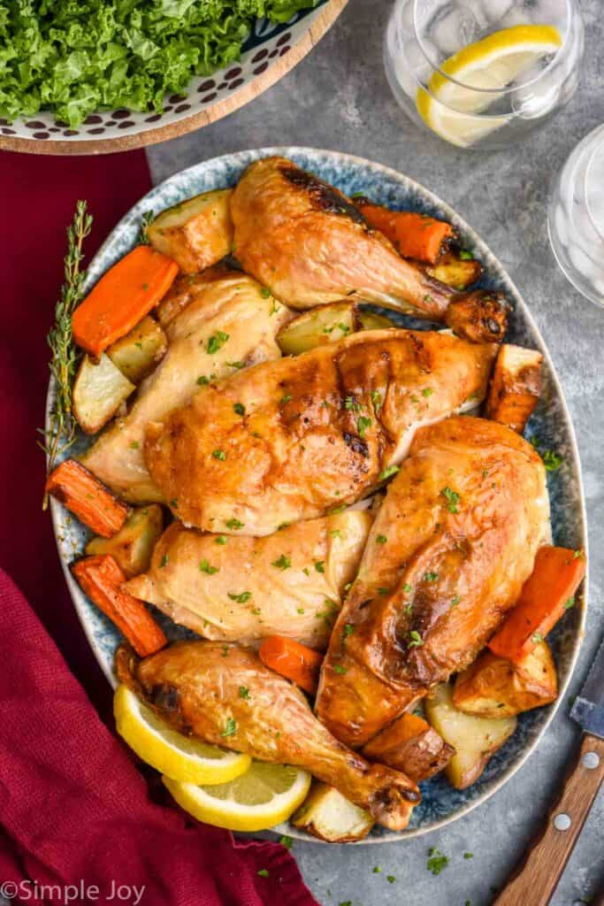 Whole Roasted Chicken that has been cut up and put on a serving platter