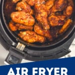 overhead view of chicken wings in air fryer as pinterest graphic