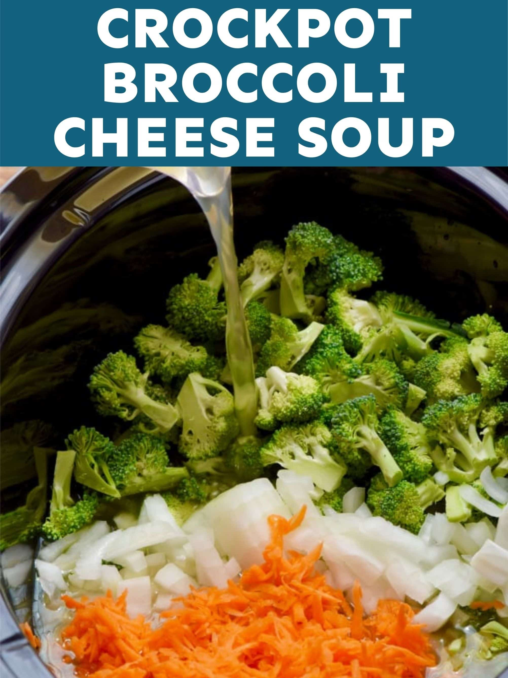 graphic for slow cooker broccoli cheddar soup web story