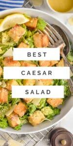 "pinterest graphic showing a Caesar salad that says ""best casesar salad"""