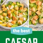 pinterest graphic with a collage of photos of Caesar salad