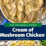 collage of photos of cream of mushroom chicken