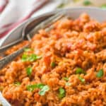 pinterest graphic with bowl of Spanish rice